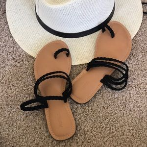 Almost brand new cognac and black sandals size 5.5